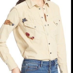 Free People Embroidered Corduroy Shirt Size S